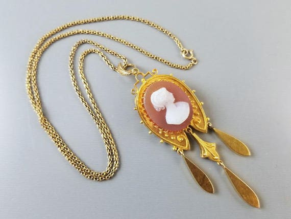 Large antique Victorian 1880s Etruscan Revival 21k gold European made hardstone sardonyx brooch pin pendant necklace