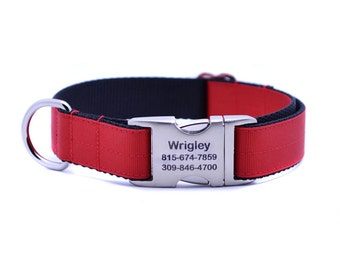 Red Ribbon & Webbing Dog Collar with Laser Engraved Personalized Buckle