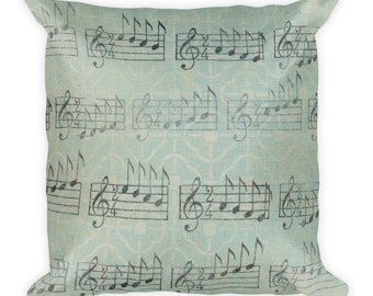 music bedroom decor, music pillow, music note pillow, musical pillow, music throw pillow, music home decor, music room decor, music bedding