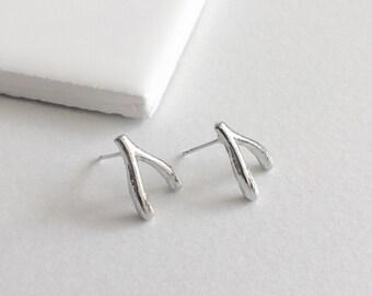 Wishbone Earrings, Silver Earrings