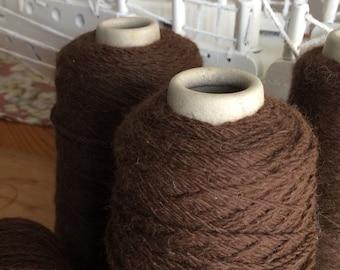 Luxurious 100% alpaca wool yarn cones, machine knitting, undyed, natural, weaving, dark brown, chocolate.