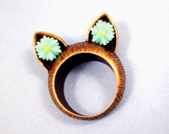 CAT Ring, Blue Flower Cabochons, Brass Cat Ear Ring, Size 7 Ring, FREE Shipping U.S.