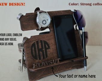 Personalised Cell phone stand Cell phone holder Valet Stand, Wooden charging station, gift for friend, gift for dad, Night Stands valet tray