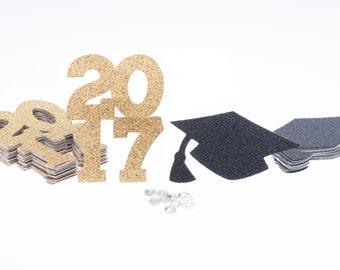 2017 Confetti, Graduation Cap Confetti, 2017 Graduation Confetti, 2017 Grad Cap Confetti, Graduation Table Decor, Graduation Party Decor