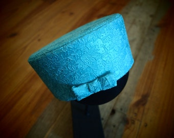 Turquoise Brocade Covered Hat