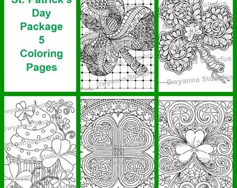 St. Patrick's Day Package - 5 Coloring Pages JPG