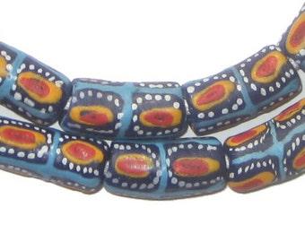 35 Ghana Glass Beads - Krobo Beads - Blue Red Eye - African Glass Beads - Jewelry Making Supplies - Made in Ghana ** (KRB-ELB-MIX-286)