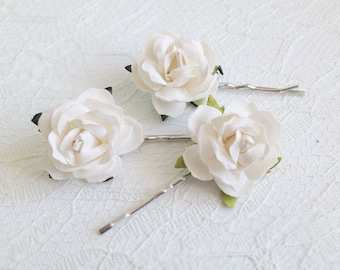 Ivory Rose Clips, wedding hair accessories, bridal hair clips, ivory rose pins, flower hair clips, rose bobby pins, flowergirl, bridesmaid