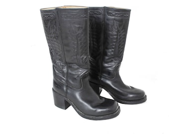 Black cowboy boots, Western boots, Leather booties, Chelsea boots, Vintage cowboy boots, Emroidered boots, Tall boots / EUR 39 , US 9 , UK 7