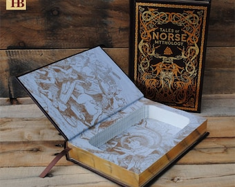 Book Safe - Tales of Norse Mythology - Leather Bound Hollow Book Safe
