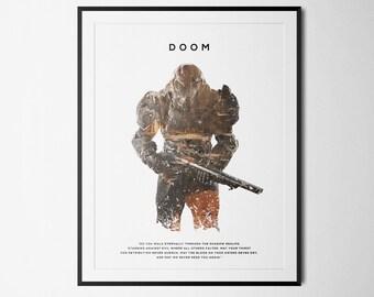 Doom Inspired Double Exposure Poster Print - Video Game Art