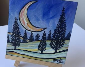 Crescent Moon Acrylic Painting