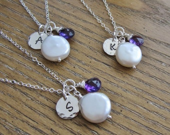 Purple bridesmaid necklace Personalized silver initial necklace Coin pearl wire wrapped amethyst necklace Bridesmaid gift Purple necklace