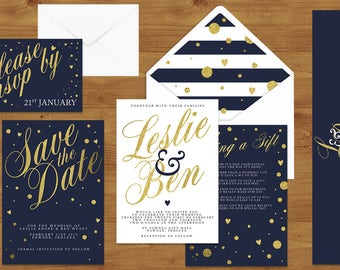 Navy, White and Gold Wedding Invitations Stationery Set - Printed or Digital Download - Nautical Wedding - Navy Wedding - Wedding Printable