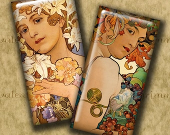 1x2 inch MUCHA WOMEN Digital Printable Domino collage sheet for Pendants Crafts...Alphonse Mucha Art Nouveau Posters