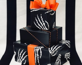 Idle Hands Wrapping Paper, skeleton, bones, Halloween, birthday, decorations, scary, black and white