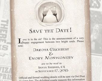 Harry Potter Save the Date // Book Wedding // Chapter Invite // Digital Invitations // Geeky Wedding // Custom Wedding Invite // Custom Geek