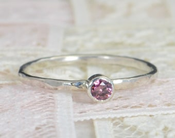 Alexandrite Engagement Ring, Sterling Silver, Alexandrite Wedding Ring Set, Rustic Wedding Ring Set, June Birthstone, Sterling Silver Ring