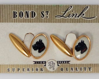 Scottish Terrier Scotty Dogs Bond St. Celluloid Cuff Links Mint on Card