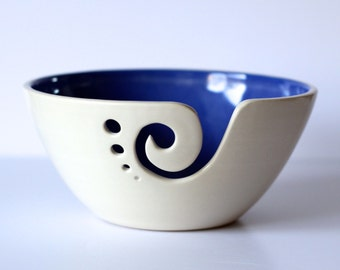 Blue Ceramic Yarn Bowl, Yarn Bowl, Knitting Bowl, Crochet Bowl, Blue and White Yarn Bowl, Made to Order