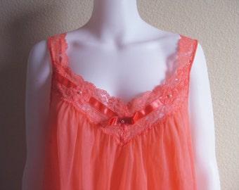 Pink Chiffon Babydoll Nightgown Vanity Fair Medium