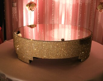"""Gold Crystal Cake stand - 20"""" round"""