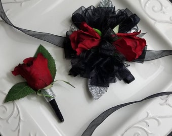 Red Black Prom Corsage Set Wrist Corsage Comes With Matching Boutonniere READY To SHIP  Artificial Flowers On Sale