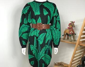 Vtg floral 80s Esprit palm frond print sweater dress