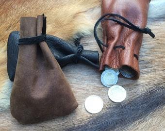 Bourse à dés simple en cuir taille S 11x7cm / dice rectangular purse LARP size S