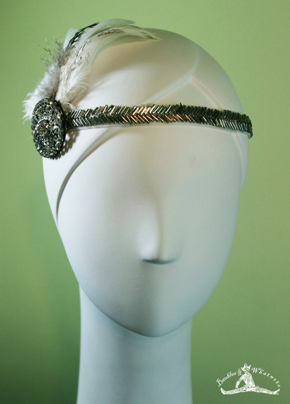 1920s Style White / Silver Beaded - Vintage Inspired - Bridal - Flapper - OOAK