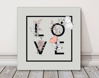LOVE typography flowers botanical elements hand drawn design grey background canvas picture print