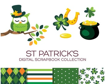 St Patrick's Day Clipart Pack Irish Clipart Clover Clipart Leprechaun Clipart Green Clipart Gold Clipart Horseshoe Clipart Holiday - CP00001