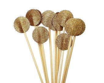 Glitter Gold Drink Stirrers 12CT, Cocktail Stirrers, Bridal Shower Decor, Skewers, Sandwich Picks, Cupcake Toppers, Swizzle Sticks - No322