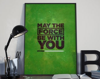 May The Force Be With You, Star Wars Print, Star Wars Wall Art, Star Wars Poster, Star Wars Gift, Star Wars Art, Darth Vader, Movie Poster