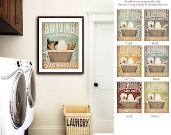 German Shepherd dog laundry basket company laundry room artwork UNFRAMED print by stephen fowler geministudio