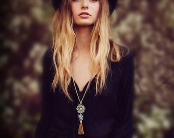Leather Tassel Long Necklace