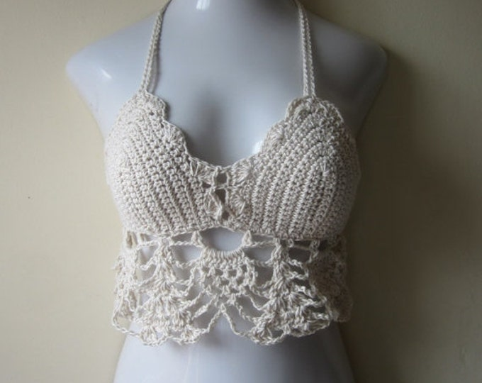 crochet halter top, cropped top, Crochet bikini cover, festival clothing,   summer top offwhite,  Boho,