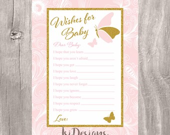 Wishes for baby, butterflies printable blush and pink wishes for baby, girl baby shower game, butterfly pink and gold wishes game