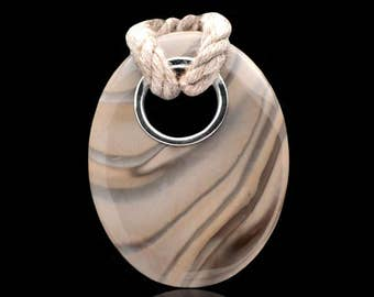Cappuccino Striped Flint Oval Necklace Pendant Sterling Silver & Handmade 42 x 54 mm Centerpiece