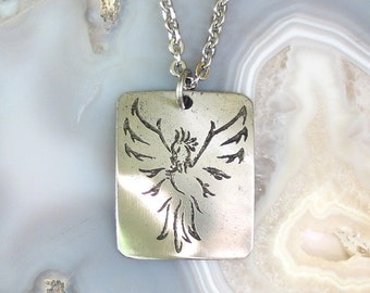 Phoenix Necklace Stainless Steel Etched - Rebirth, Renew, Change - on Stainless Steel Chain, LARGE