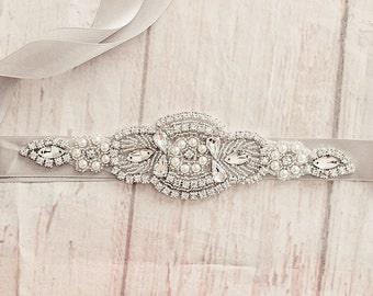 Bridal Sash, Gray Flower Sash, Flower Girl Belt, Bridesmaid Sash, Gray Bridal, Bridal Belt, Gray Sash, Maternity Sash