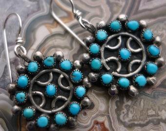 Zuni Vintage Turquoise Sterling Snake Eyes Earrings