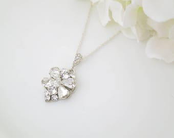 Crystal pendant necklace, Swarovski crystal wedding necklace, Crystal bridal necklace, Sterling silver necklace, Rhinestone bridal necklace