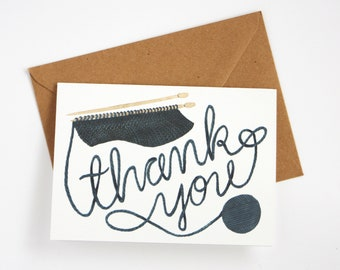 Thank You Card - Knitting Ball of Yarn - Recycled