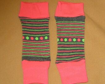 Leg warmer, Infant, Newborn, Toddler-Lime, Pink and Grey stripe-infant leg warmer, newborn leg warmer, baby girl leg warmer, baby leg warmer