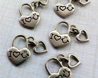I love Being Happy Charms -5 pieces-(Antique Pewter Silver Finish)--style 608--Free combined shipping