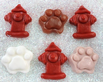 20 Dog Paws and Fire Hydrant Favor Soaps
