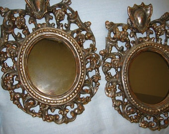 Rococo Mirrors Silver Crest Leaf Italian Wood Updated Smokey Mirrors