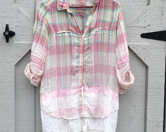 Duster- Summer Tunic, Upcycled Clothing, Recycled Clothing, Tunic, Lace, Boho, Shirt, Long Shirt, Summer, Light Weight