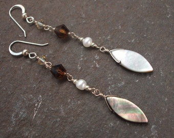 Long Mother of Pearl earrings with brown Swarovski crystals and Freshwater Pearls, Sterling Silver long gemstone  earrings, unique jewelry